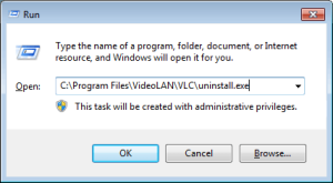 Pasting a program's uninstallstring in run command