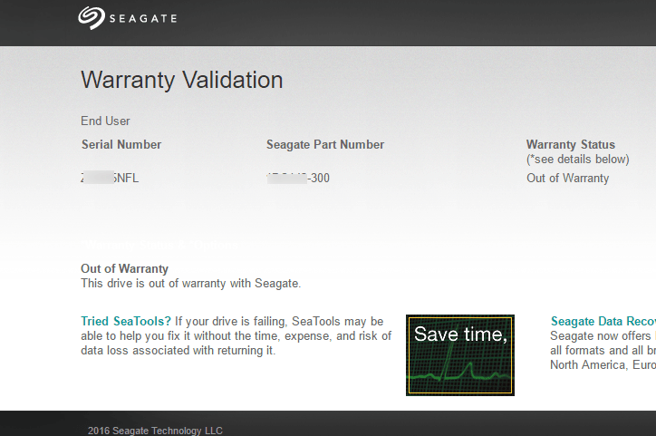 Seagate warranty validation 2