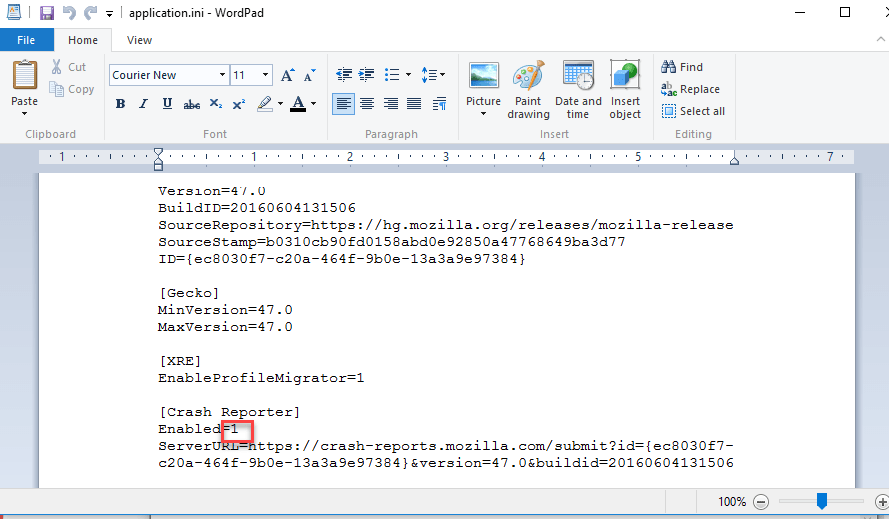 Firefox application.ini file open in wordpad