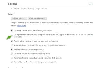 disable prediction service in Chrome