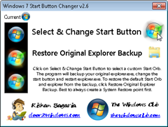 Win7Startbuttonchanger thumb How to restore Windows 7 Start button Orb to its default