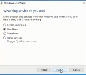 configuring Windows Live Writer step 1
