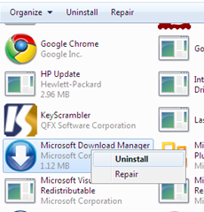 uninstall microsoft download manager