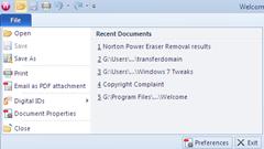 File menu in Nitro PDF Reader