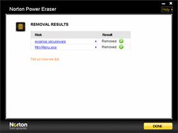 Norton Power Eraser Removal results