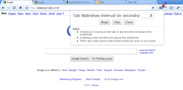 cycle through all opened tabs in chrome continuously with tab