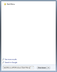 Win7 start menu folder