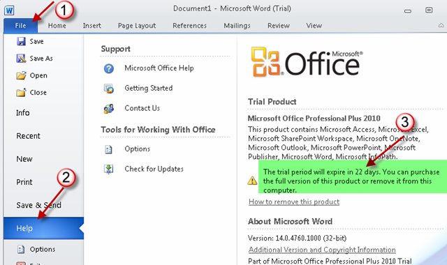 Microsoft office 2010 trial