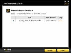 restore removed files by norton power eraser
