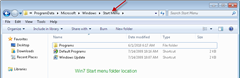 win7 start menu folder location