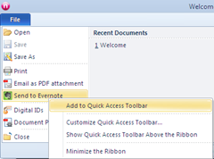 Add Send to Evernote to quick access toolbar