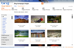 Bing homepage visual search gallery