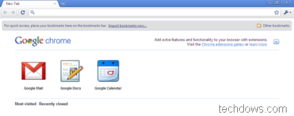 Google web apps on new tab page