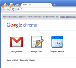 Google web apps on new tab page in Chrome