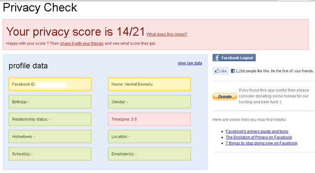 Privacy Check tells your Facebook Privacy Score