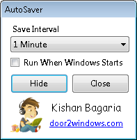 Save the applications automatically after specified intervla of time with autosaver
