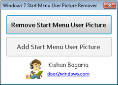 Windows7StartMenuUsePictureRemover thumb How to remove Start Menu User Picture in Windows 7