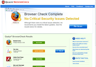 scan for browser security issues with Qualys BrowserCheck