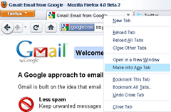 turning websites into app tabs in Firefox