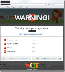 website with poor reputation being alerted in safari by Web of Trust extension
