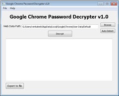 Google Chrome Password Decrypter shows list of passwords stored in Google Chrome