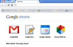 Google Chrome new tab page with Google web apps and link to Google Chrome app store