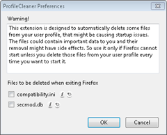 ProfileCleaner  Firefox add-on fixes Firefox startup issues or errors by removing some files from Firefox User profile