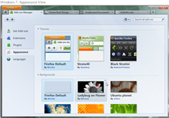 appearance view of themes in Firefox 4.0 add-ons manager