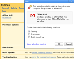 creating shortcut for Offline Gmail