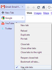 disable use side tabs labs feature in Google Chrome