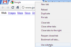 enable use side tabs labs feature in Google Chrome