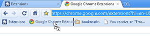 open Google Chrome extensions page easily from bookmarks bar