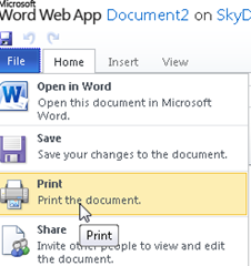 print option added to File menu in Word Web App
