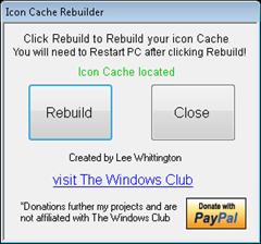 rebuild icon cache with Icon Cache Rebuilder