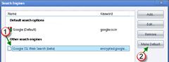 set Google SSL Web Search as default in Google Chrome