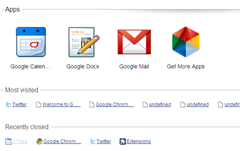 Apps in New Tab Page in Google Chrome
