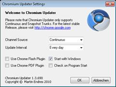 Chromium Updater Settings