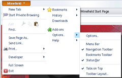 Firefox 4 new two tiered menu design