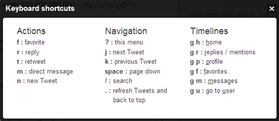 New Twitter shortcuts
