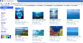 Old Google image search layout in Google Chrome