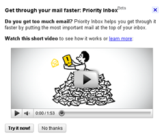 Priority inbox brief summary and video