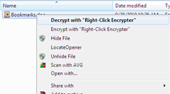 decrypting the file with Right-Click Encrypter