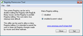 enablle or disable registry editing with Registry Permission Tool