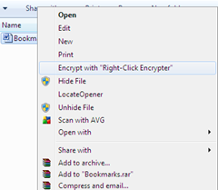 encrypting the file with Right-Click Encrypter