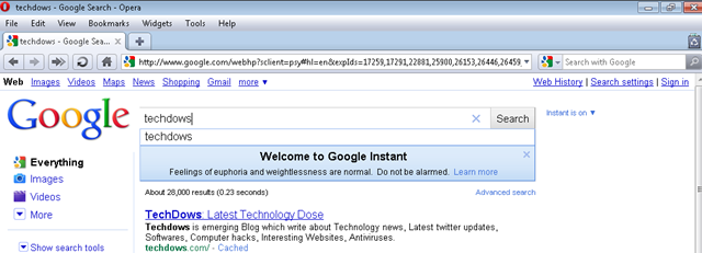 Make Google Instant to Work in Opera
