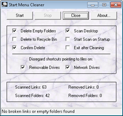 remove dead links with start menu cleaner