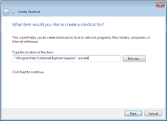 setting IE9 to start automatically in InPrivate Browsing mode