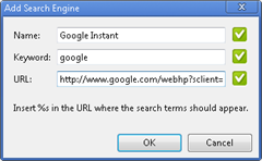 settng Google Instant as default search engine in Google Chrome