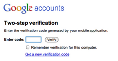 two-step verification for Google Accounts to sign in