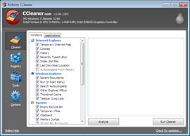 CCleaner v3.0 user interface